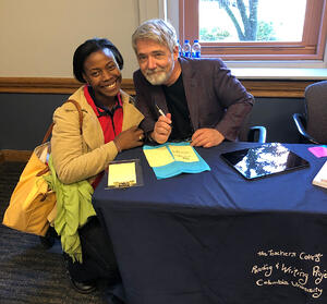 Jane Attah with Author Peter Reynolds, one of the two focuses of her Deep Dive.